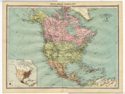 1905 Antique Map NORTH AMERICA Population USA Canada MEXICO West Indies